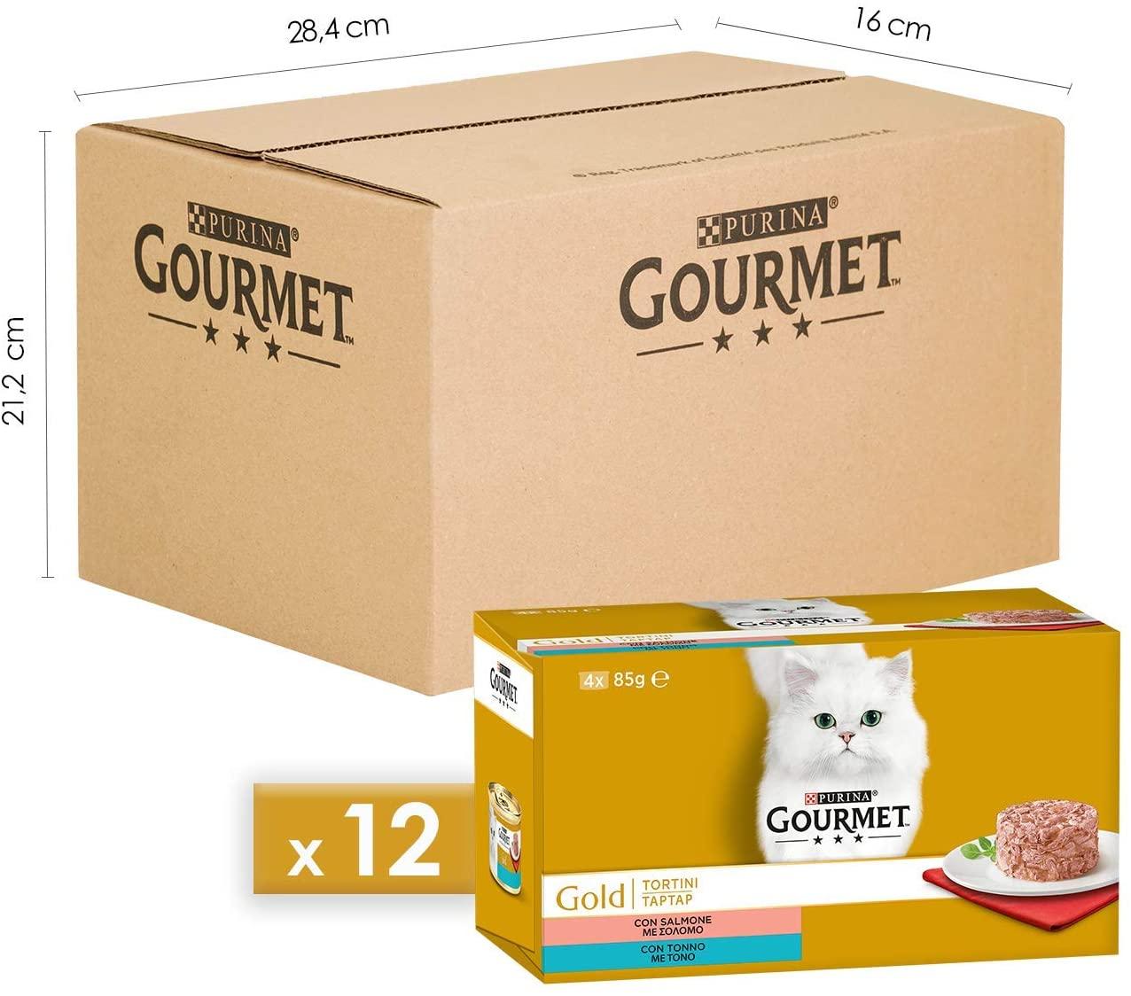 Purina Gourmet Gold Umido Gatto Tortini con Salmone, con Tonno, 48 Lattine da 85 g Ciascuna, 12 Confezioni da 4 x 85 g