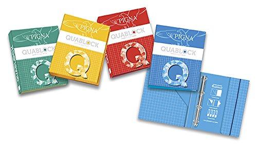 Pigna Quablock 006230630, Raccoglitore Astucciato con Elastico ad Anelli, formato A4, Colori Assortiti
