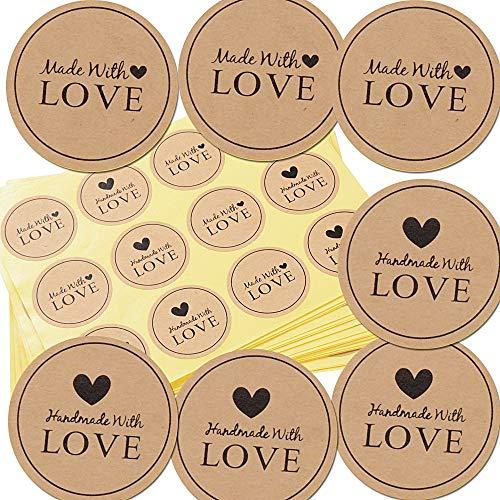 600 Etichette Autoadesivo handmade with love realizzato a mano con font nero su carta Round Baking Sticker kraft etichette adesive 60 Sheet