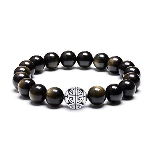 MetJakt - Braccialetto elasticizzato con perline naturali da 8 mm, con ciondolo doppia felicità, in argento Sterling 925 e Argento, colore: Obsidian, cod. ObsidianA