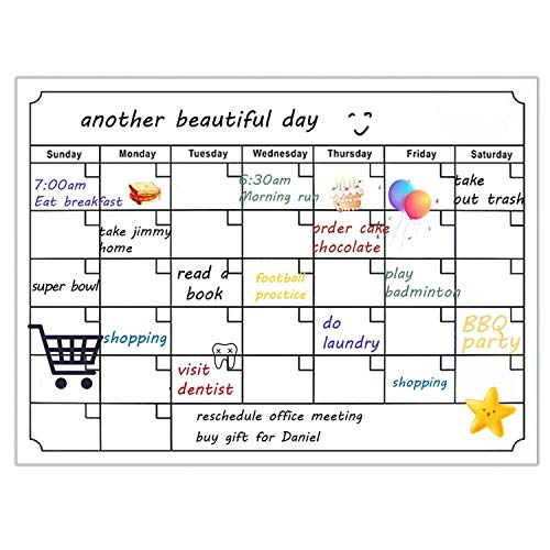 TABIGER Lavagna Calendario Magnetico Frigorifero, Lavagnetta Cancellabile per Adulti e Bambini, Lavagna per Appunti Utile con 4 Penne, 1 Cancellino, Perfetta per Pianificare I Pasti