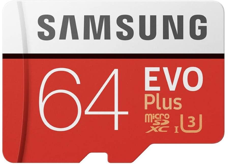 Samsung Memorie MB-Mc64Ga Evo Plus Scheda Microsdxc da 64 Gb, Uhs-I U3 100Mb/S, con Adattatore SD, Rosso/Grigio