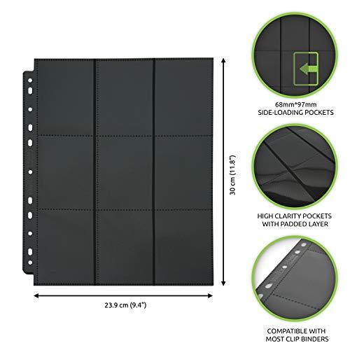 Vault X Sideloaders - Fogli per Raccoglitore - Buste di catalogazione 9 Tasche per Carte da Gioco collezionabili - 900 Tasche totali con Apertura Laterale (50 Fogli)