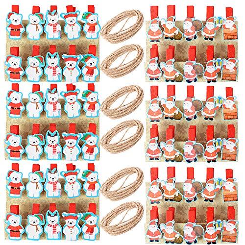 60pz Mollette Mini Legno Natale 6pz Corda Iuta Fili Mollettine Rosso Natalizi Decorativi Decorazioni per Foto Biglietti Scrapbooking Casa