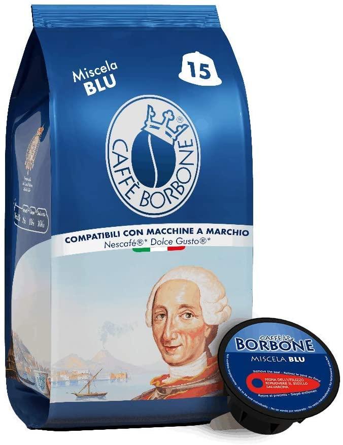 Caffè Borbone Miscela Blu - 90 capsule (6 confezioni da 15 capsule) - Compatibili Nescafè Dolce Gusto