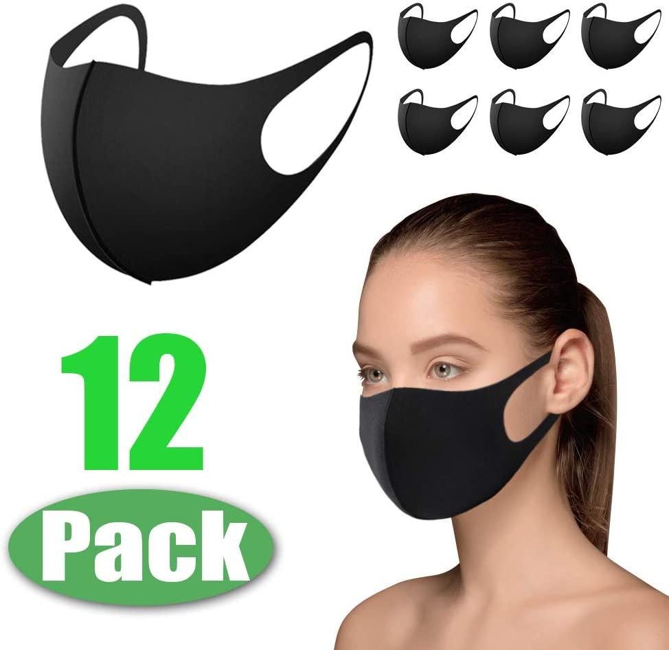 Morfone Maschera Paradenti, 12 maschere riutilizzabili, maschera antipolvere, maschera viso per corsa, ciclismo, sci, attività all'aperto, lavabile, seta [colore nero]
