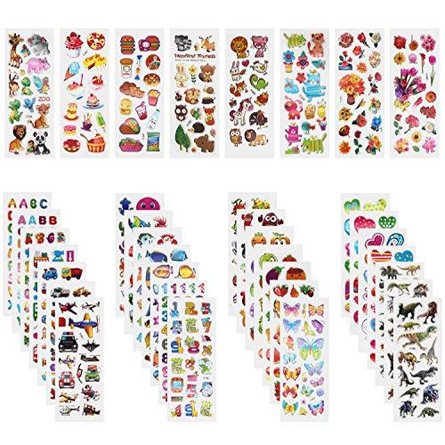 Annhao Adesivi per Bambini, 1000+ Adesivi 3D Stickers per Puffy Adesivi per Regali Gratificanti Scrapbooking Inclusi Camion, Aeroplani, Animali, Pesci, Dinosauri, Numeri, Frutta, lettera ecc(40 Fogli)