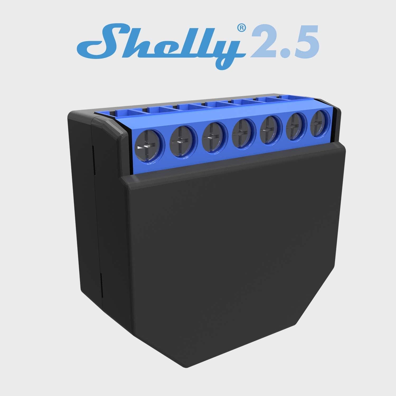 Shelly 2.5PM Interruttore Relè Wi-Fi per il Controllo di Due Circuiti Elettrici con Potenza Massima di 2.3 kW, Compatibile con Amazon Echo e Google Home
