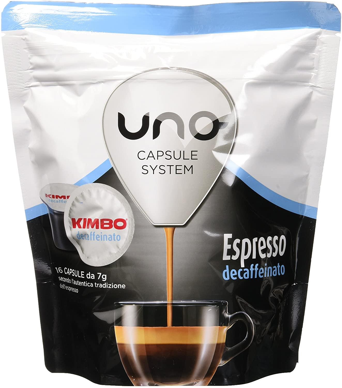 Kimbo Capsule di caffè - Compatibile con il sistema di capsule UNO - Espresso Decaffeinato (6 x 16 capsule)