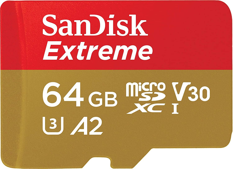 Sandisk Extreme Scheda di Memoria Microsdxc da 64 GB e Adattatore SD con App Performance A2 e Rescue Pro Deluxe, Fino a 160 MB/Sec, Classe 10, Uhs-I, U3, V30