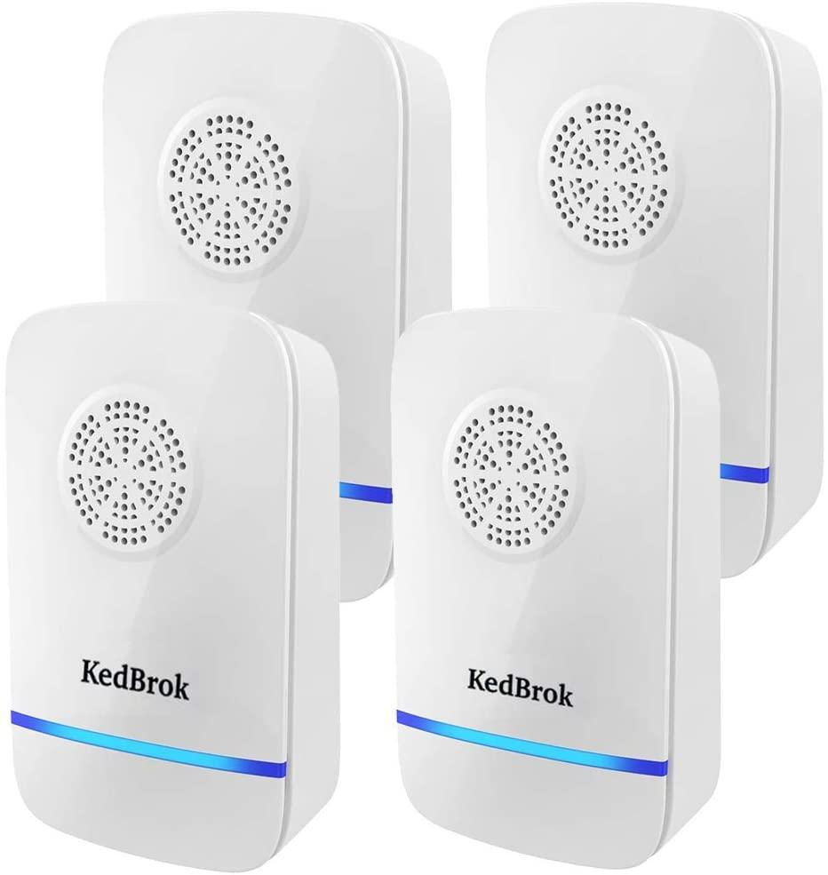 KedBrok 4 Pack Antizanzare Ultrasuoni, Repellente ad Ultrasuoni Anti Zanzare Dispositivi Antizanzare Insetti Ragni Topi Mosche Parassiti Ratti Scarafaggi Formiche