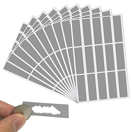 LYTIVAGEN 150 Pezzi Gratta e Vinci Adesivi Etichette, Scratch Sticker da Graffiare(4.9x1.6CM, Grigio, Rettangolo)
