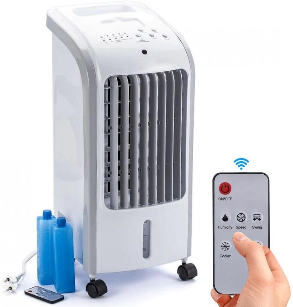 Bakaji Raffrescatore Rinfrescatore Ventilatore Umidificatore d'aria Air Cooler Massima Potenza Raffreddamento ad Acqua con serbatoio Ghiaccio Acqua, Timer e Telecomando (4 Litri Small)