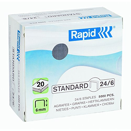 Rapid 24859800 Confezione 5000 Graffe a Filo, 24/6, Blu