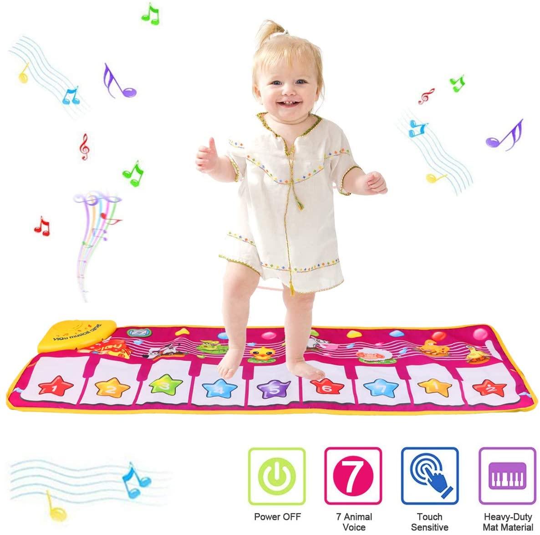 PROACC Tappetino per Pianoforte, Giocattolo per Tappetino per Pianoforte per Bambini, Grande Formato (39 * 14 Pollici) Tappetino per Ballo Divertente per Neonati Regalo per Bimbi e Ragazze (Rosso)