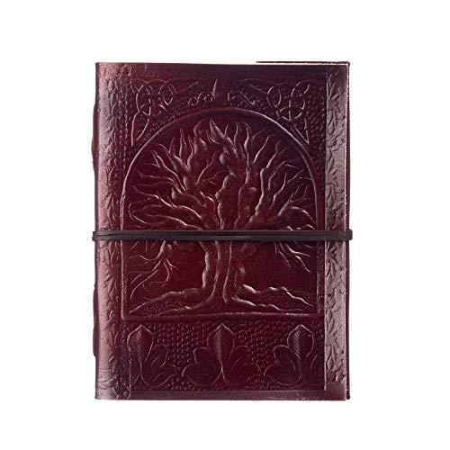 Diario in pelle decorato, tema 'L'albero della vita' , commercio equo e solidale | 13,5 x 18,5 cm | Fatto a mano e in materiali ecologici, rilegato ed in pelle vintage . Per uomo e donna.