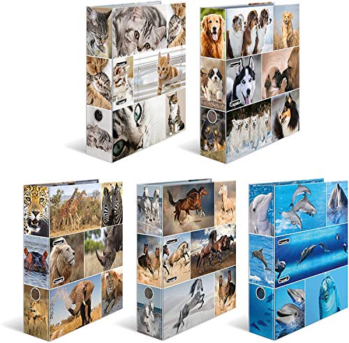 HERMA Registratore a leva con anelli Animali, A4, dorso 7 cm, cartonato, colori assortiti, confezione da 10