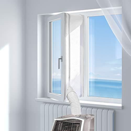 HOOMEE 400CM Guarnizione Universale per Finestre per Condizionatore Portatile, Asciugatrice – Per Tutti Climatizzatori Mobili, Facile da Montare – Con zip, Chiusura a Strappo