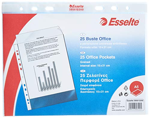 Esselte, 395612200, Buste perforate Office - ppl antiriflesso, A5, 15 x 21 cm