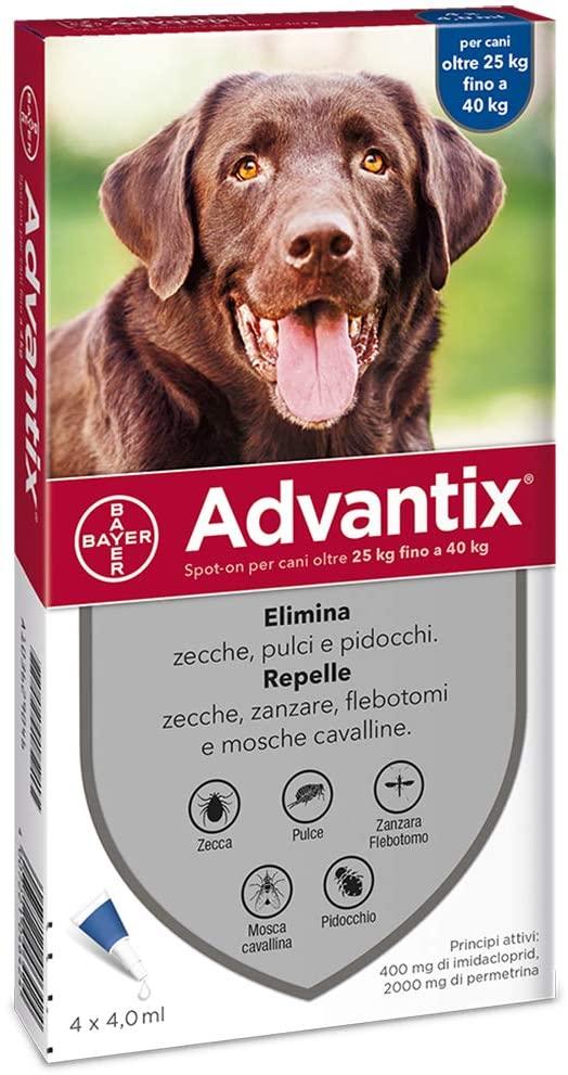 Advantix Spot-on per Cani da 25 a 40 Kg - 4 pipette da 4,0 ml