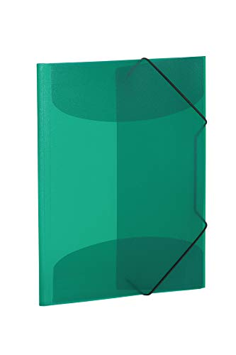 HERMA 19500–Cartellina con con elastici di gomma, plastica, 1pezzi, trasparente DIN A4 verde scuro