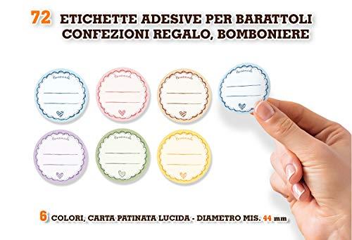 Readyprint 72 Stickers Adesivi per etichettare Barattoli, Chiudipacco, Etichette Artigianato Homemade. Mis. 4,4 cm -72 pz.