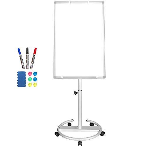 Lavagna bianca mobile – 90 x 60 cm. Lavagna magnetica cancellabile a secco, con cavalletto e ganci 90x60 Argento