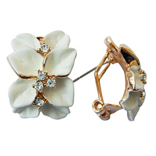 Navachi Omega orecchini placcati in oro da 18 k, smaltati, in cristallo, a forma di fiore con foglie e 18ct base metallo placcato oro, colore: bianco, cod. HB6-2862-2