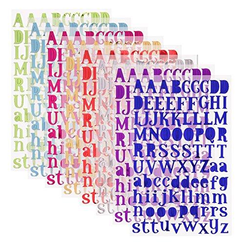 Sunmns - Lettere autoadesive, motivo: alfabeto colorato, 8 fogli