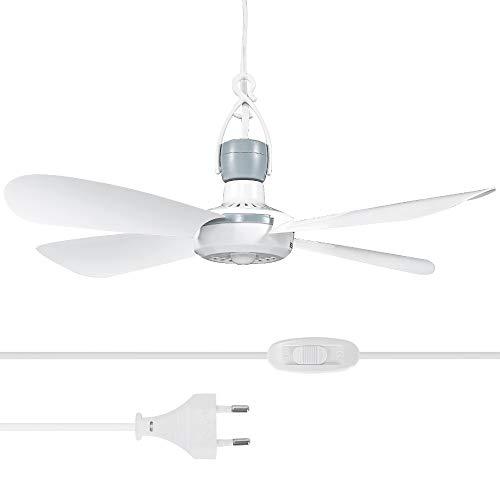 Yorbay Mini Ventilatore da Soffitto Portatile,con Cavo da 2,8M,220V,Ø42cm, Fan Mobile con Gancio e Interruttore,Risparmio Energetico