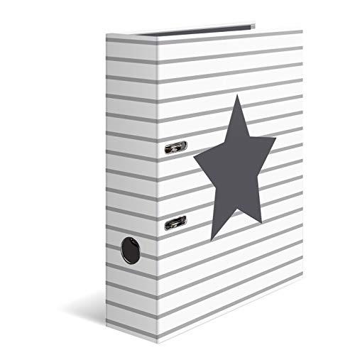 HERMA Registratore a leva con anelli Stelle con motivo Strisce bianche, A4, dorso 7 cm, cartonato, colori