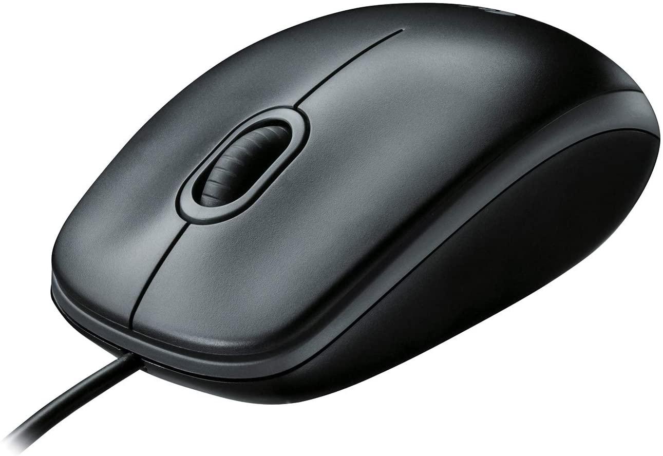 Logitech B100 Mouse USB Cablato, 3 Pulsanti, Rilevamento Ottico, Ambidestro, PC/Mac/Laptop, Nero