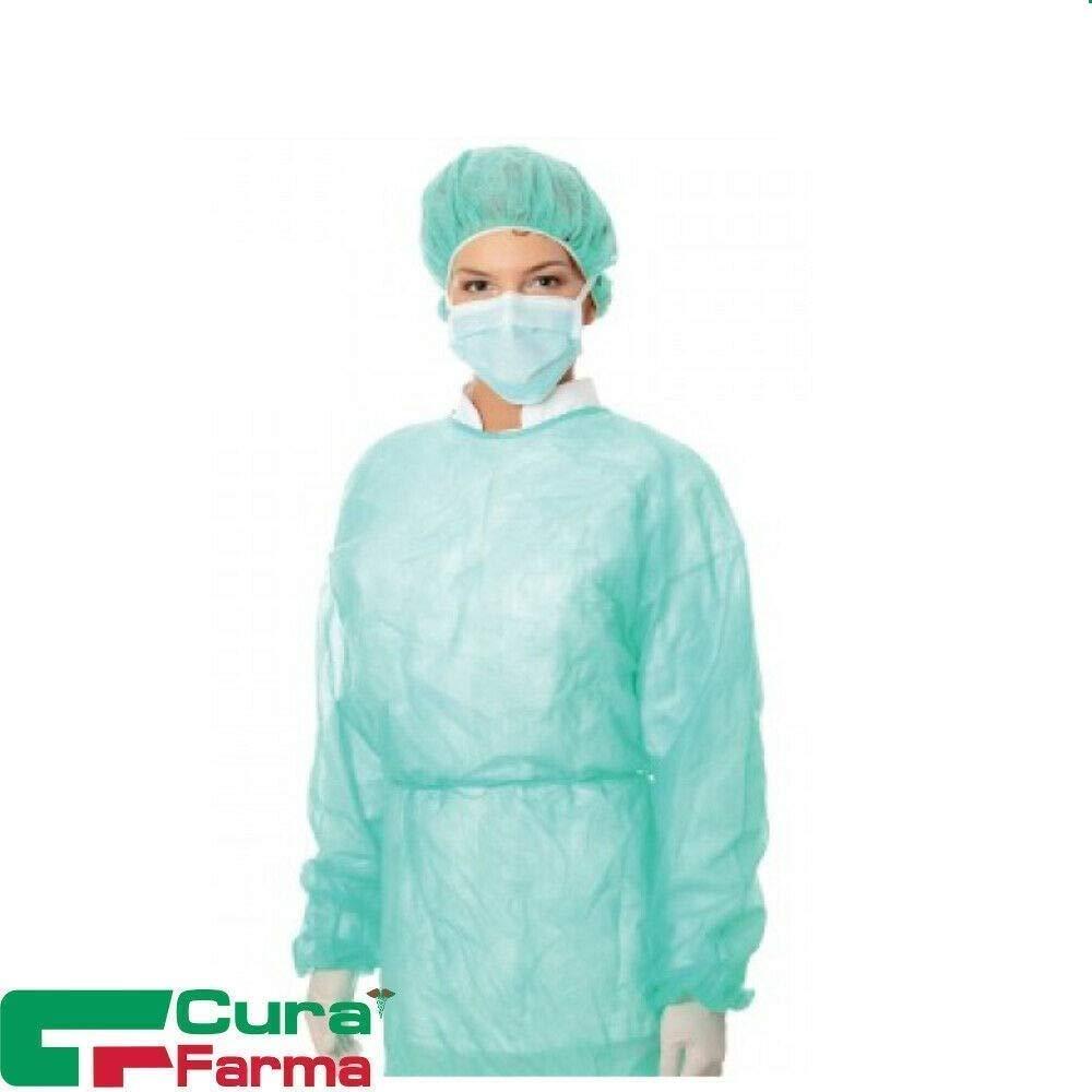 Camici Monouso in TNT Con Polsini - cf. 10/100 pezzi - Camice da Visitatore Non sterile – verde – anallergico - 30 gr/mq – Originale Cura Farma (Camici Monouso in TNT 10 pz)
