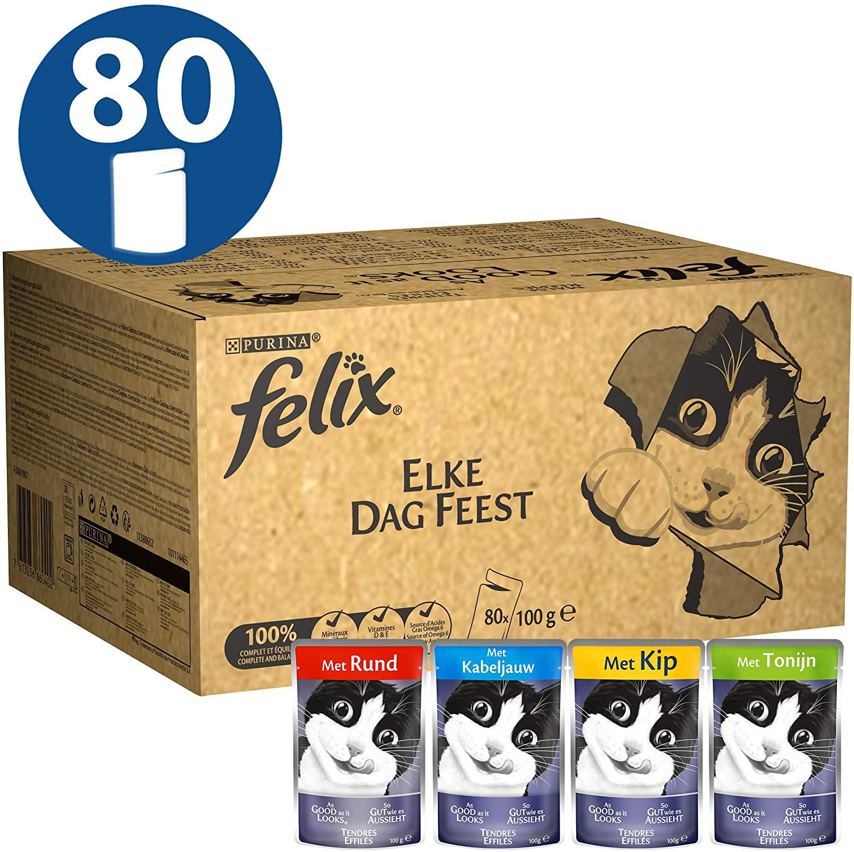 Purina Felix Le Ghiottonerie Umido Gatto con Manzo, Pollo, Salmone e Tonno, 80 Buste da 100 g Ciascuna