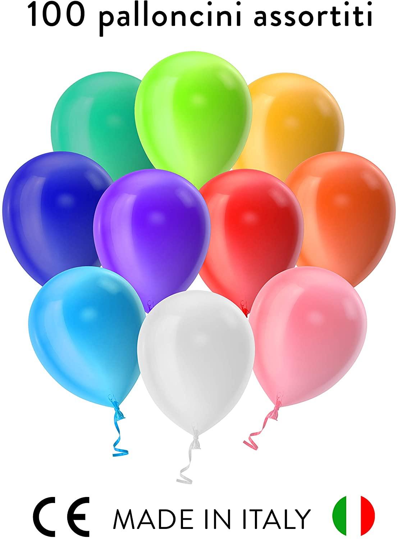 BidMamba 100 Palloncini Compleanno Decorazioni Feste Happy Birthday Addobbi per Feste di Compleanno Bambina Bambini Matrimonio Baby Shower Decorazioni Compleanno Gonfiabili con Bombola Elio