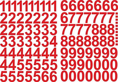 Numeri adesivi, 4 cm di altezza – in rosso – 101 numeri adesivi – numeri e numeri autoadesivi 0 – 9 – Ideale per esterni perché impermeabile e resistente alle intemperie.