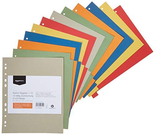 AmazonBasics - Divisori in carta manilla riciclata, perforatura di standard europeo, extra larghi, 24 x 29,7 cm, A4, 230 g/m2, 12 divisori in 6 colori diversi