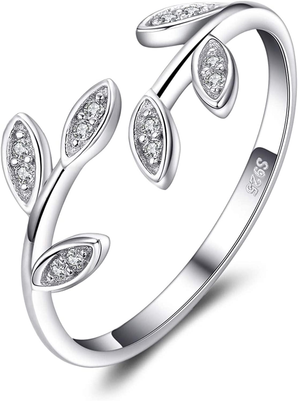 JewelryPalace Foglia di Olivo Anello Aperto Regolabile con Zirconi Cubici in Argento 925 (Anello Regolabile)