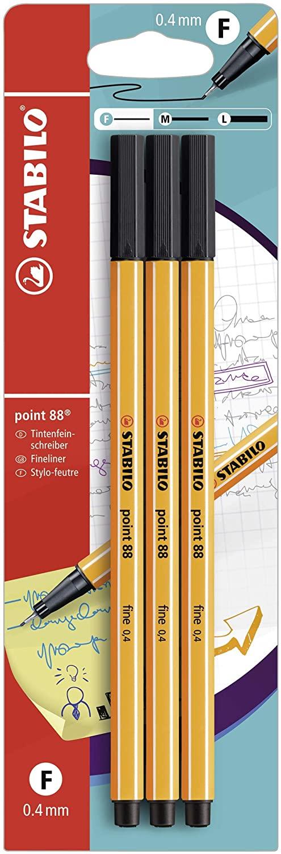 Fineliner - STABILO point 88 - Pack da 3 - Nero