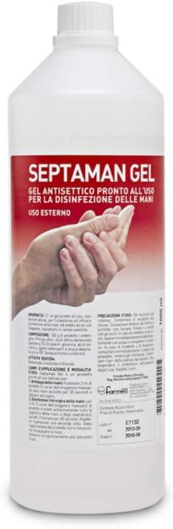 Gel Disinfettante Antisettico Pronto all'Uso per la Disinfezione delle Mani, 1000 ml