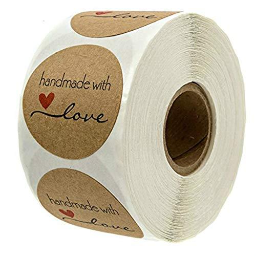 Sahoga 500 Pezzi Autoadesivo Handmade with Love Round Baking Sticker Kraft autoadesiva Decor Multi per creazioni Fai da Te (A)