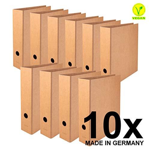 Falken Confezione da 10 raccoglitori vegani Pure. L'originale - Made in Germany. Raccoglitore, largo DIN A4 marrone