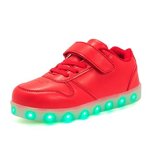 Lovelysi Unisex Bambini Ragazzi Ragazze Scarpe Sneakers LED Lampeggiante USB Ricaricabile 7 Colori Colorati Regalo Natale Capodanno Compleanno