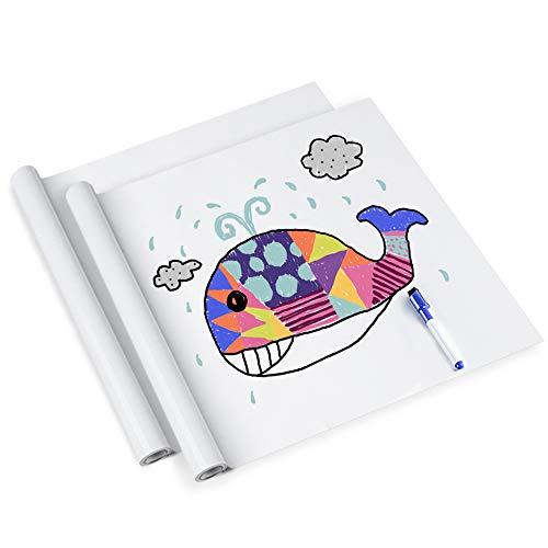 rabbitgoo Lavagna Adesiva 2 Rotoli,Memo da Parete,Stickers Nota Appunto Rimovibile per Scuola Ufficio Casa 44.5cm x 199cm con 2 Pennarelli (Lavagna Bianca)