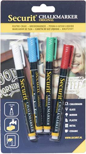 Securit Set da 4 pennarelli a gesso liquido colori di base - Punta fine 1-2mm
