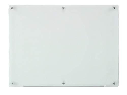 Lavagna in Vetro Smerigliato - 80 cm x 110 cm - Include Vassoio Marcatore in Alluminio (non magnetico)