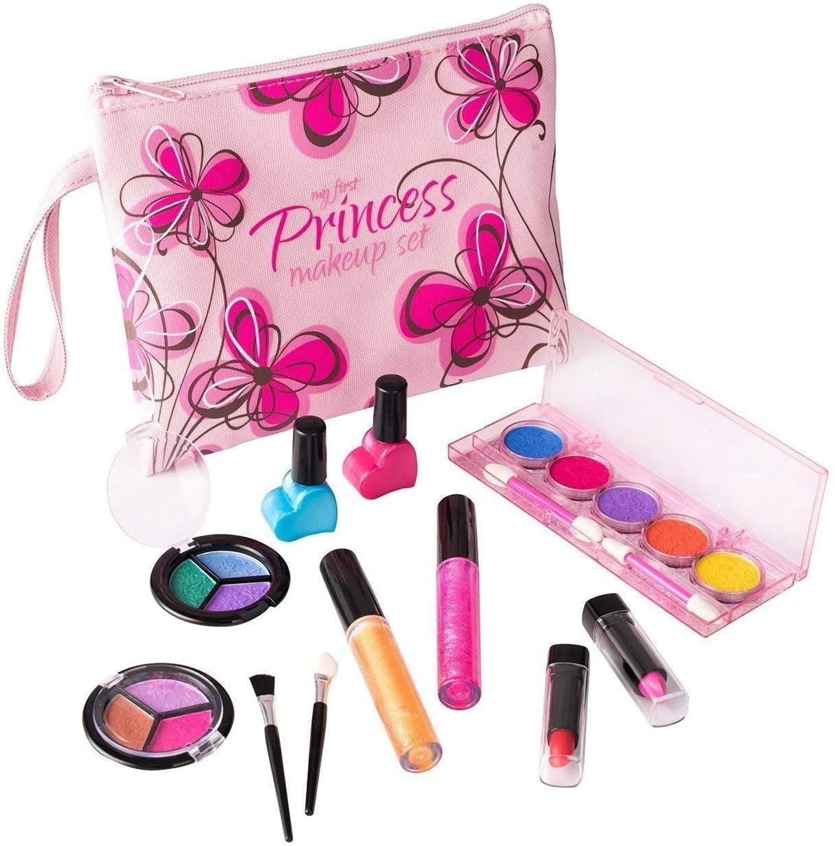 Playkidz- My First Princess Set Trucco Realistico (Lavabile) con Borsa cosmetica Floreale di Design, Colore Pink, PK3032