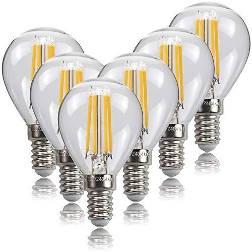Lampadina Filamento LED E14, 4W Equivalenti a 40W, 470Lm, Luce Bianca Calda 2700K, Stile Vintage Forma G45, Risparmio Energetico, Non Dimmerabile, Confezione da 6 Pezzi