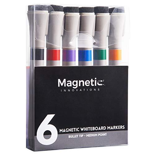 Confezione da 6 pennarelli magnetici per lavagna bianca, di grandi dimensioni, ideali per ufficio, casa o scuola