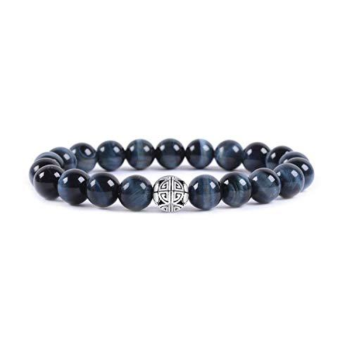 Gemme naturali 8mm MetJakt Healing Crystal braccialetto di perline elasticizzato con pendente in argento 925 doppia felicità (Blue Tiger Eye)